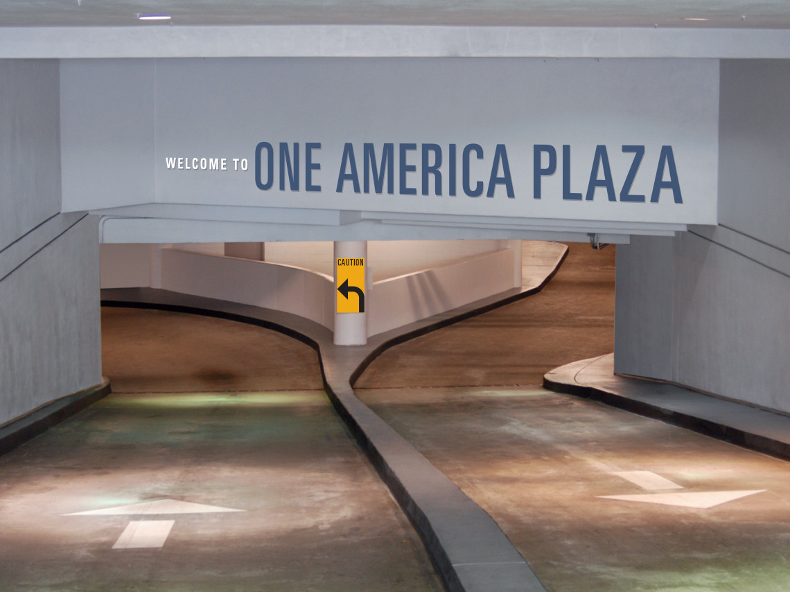 One-America-Plaza-3-garage-ramp-overhead-welcome-sign
