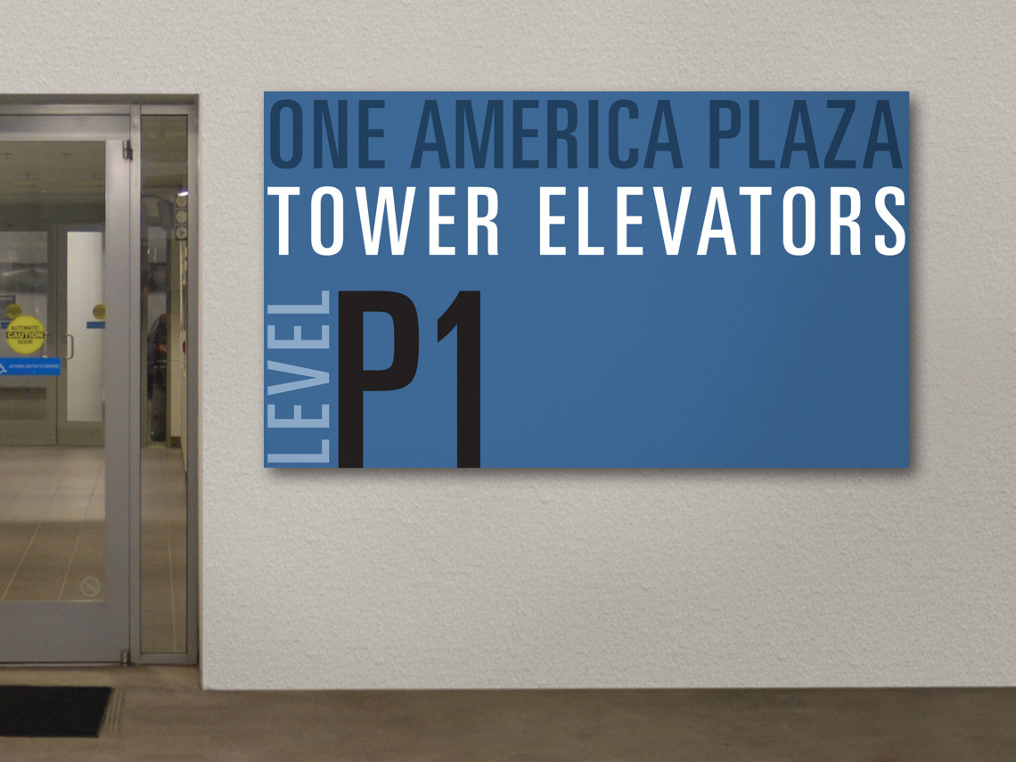 One-America-Plaza-5-elevator-lobby-wall-sign